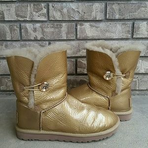UGG soft Gold Mirage Bailey button metallic boots